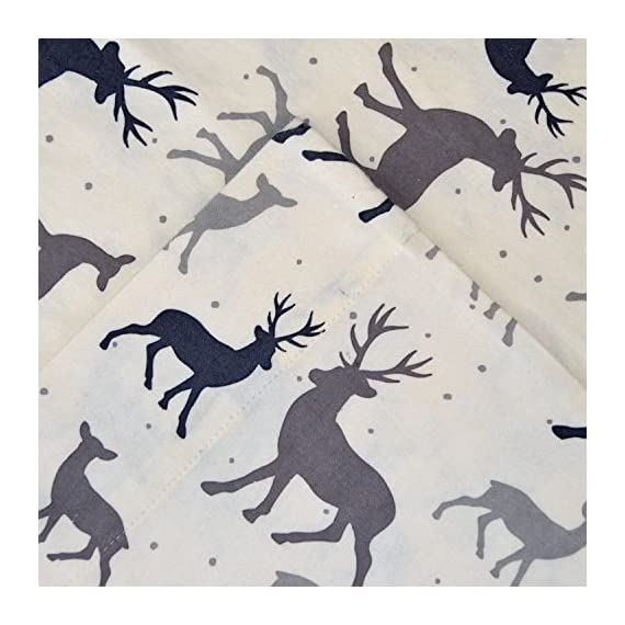 """Pointehaven Heavy Weight Flannel Sheet Set, Full, Autumn Deer - 170GSM / 5 oz. Flannel Fits Mattresses up to 18"""" 4 piece set includes: 1 flat sheet, 1 fitted sheet, 2 pillowcases. Fitted Sheet: 54 """" x 75 """" x 16 """"; Flat Sheet: 84 """" x 100 """"; Pillow Cases: 21 """" x 30 """" - sheet-sets, bedroom-sheets-comforters, bedroom - 51PBKOl6kqL. SS570  -"""