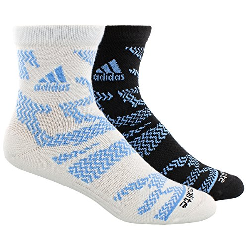 Blue Black Tiger - adidas Men's 2-Pack High Quarter Socks, White Tiger Print/Collegiate Light Blue/Black, Large