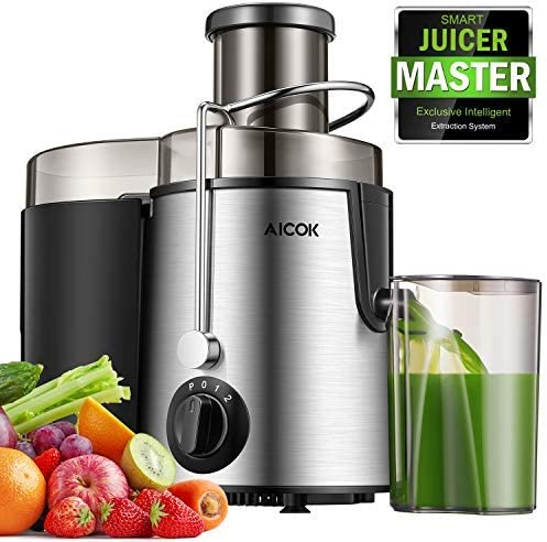 Juicer Centrifugal Juicer Machine Wide 3???Feed Chute Juice Extractor for Whole Fruit and Vegetables 600W, Stainless Steel Juicer with Pulse Function