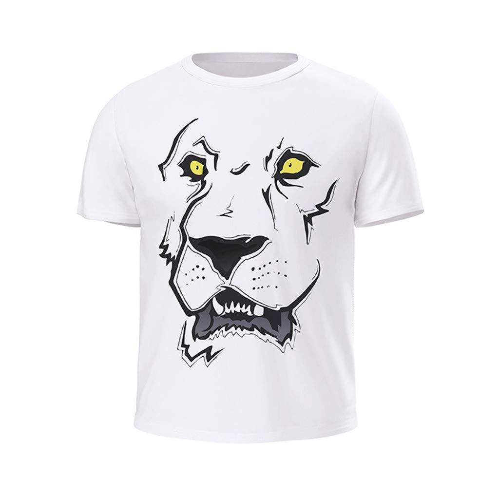 2019 Mens Spring Summer Fashion Personality Printing O-Neck Casual Slim Fit Cotton Shirts Short Sleeve T-Shirt Top