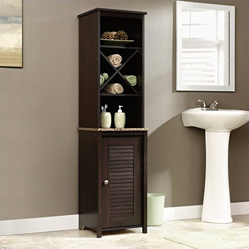 Sauder Linen Tower Bath Cabinet, Cinnamon Cherry Finish (Linen Bath Cabinet)