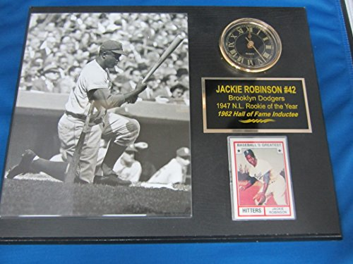 Jackie Robinson Brooklyn Dodgers Collectors Clock Plaque w/8x10 Photo EBBETS FIELD ON DECK CIRCLE ()