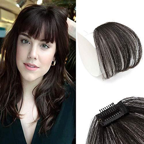Clip in Bangs Human Hair, 100% Remy Fringe Human Hair Without Temples Natural Black for Women