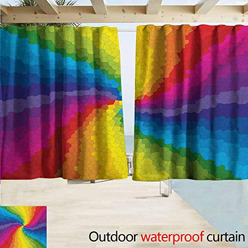 AndyTours Thermal Insulated Blackout Curtains,Colorful Stained Glass Design in Rainbow Colors Burst Effect Abstract Mosaic Swirls Artwork,Simple Stylish Waterproof,W55x39L Inches,Multicolor ()