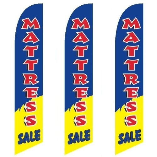 Three (3) Pack Full Sleeve Swooper Flags MATTRESS SALE Red Blue Yellow White