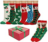Fuzzy and Soft Christmas Holiday Socks 6 Pack, Size 9-11.
