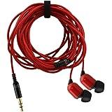 3.5 mm有線イヤホン 両耳 カナル型 高音質 重低音 軽量 耐久 携帯電話、タブレット MP3用 超長3mのヘッドフォン おしゃれ 遠距離音楽を聞け ノイズキャンセリング 子供女性用ギフト 持ち便利 マイクなし (赤)