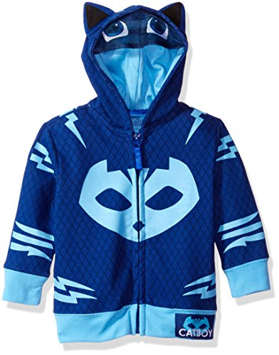 PJ MASKS Toddler Boys' Gekko and Catboy Hoodie, Blue, 4T