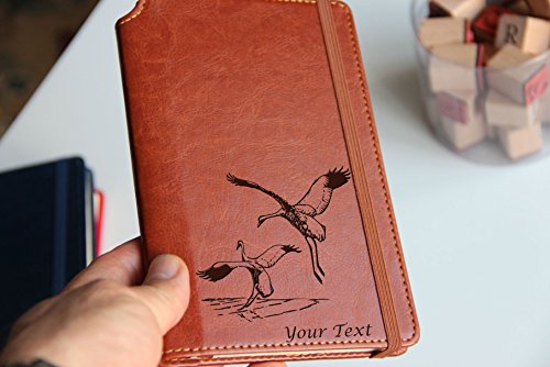 Customizable laser engraved Sarus Cranes Journal with custom quote custom text leather bound with elastic band with the same color