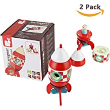 Sealive Space Toys Rocket Ship With Astronaut For Kids Toddler,Wooden Spaceship Magnetic Rocket DIY Assembly For Childs Educational Discovery Space Center Toy Figure Playset,Great Gift For Age 3+ Baby