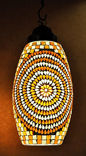 Mosaic Glass Lamp & Light 15 x 7 Inches
