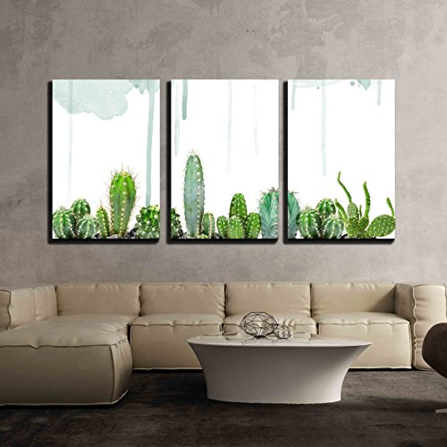 Various Cacti on Watercolor Background x3 Panels