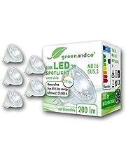 greenandco® LED-spot MR16 GU5.3, 12V AC/DC, niet dimbaar