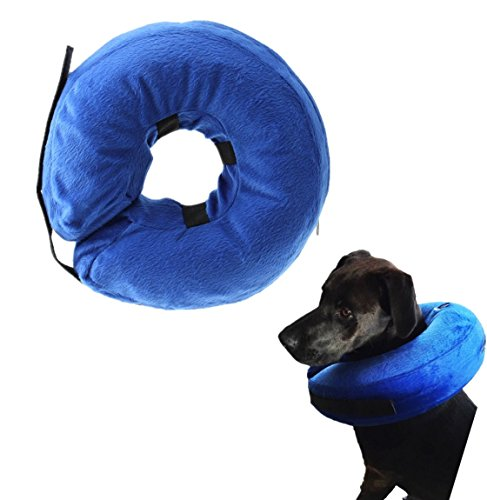 Cloud Inflatable protective E-Collar Dog and Cats Head Cone Soft Recovery Collar for Injuries Rashes Post-Surgery Blue (NECK CIR 6-10 inch)