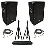 (2) Harmony Audio HA-V10P Pro DJ 10'' Passive 300W PA Speaker 1/4'' Cables Stands