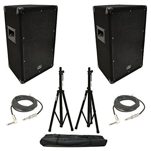 (2) Harmony Audio HA-V10P Pro DJ 10'' Passive 300W PA Speaker 1/4'' Cables Stands by Harmony Audio