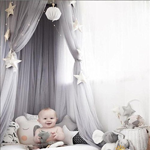 7b03fed2d1 yangelo Dome Bed Canopy Kids Play Tent Mosquito Net for Baby Kids Indoor  Outdoor Playing Reading 240cm (Gray)