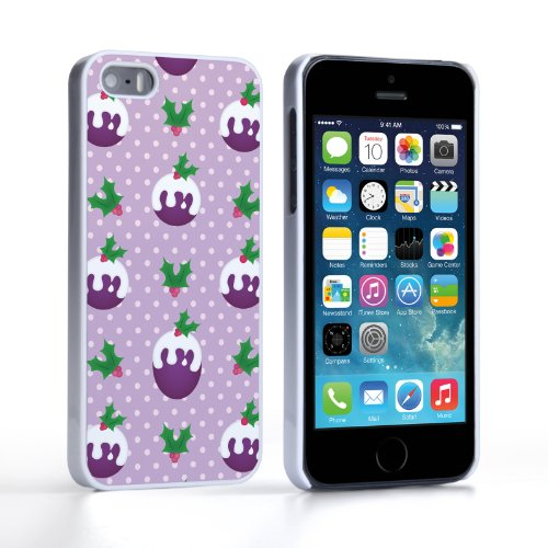 Caseflex iPhone 5 / 5S Case Purple Christmas Pudding Hard Cover