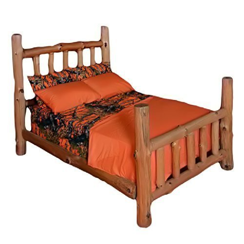6 Piece King Orange Sheet Set Reversible Woodland Camo / Sol