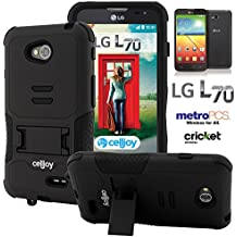 L70 Case, CellJoy [Combat Armor] {Stealth Black} LG Optimus L70 D325 2014 Release Model Case (WILL NOT FIT LG L90) Hybrid Ultra Fit Dual Protection [Heavy Duty] Kickstand **Shock-proof** [Rugged Grip Skin] - Robot Case Cover