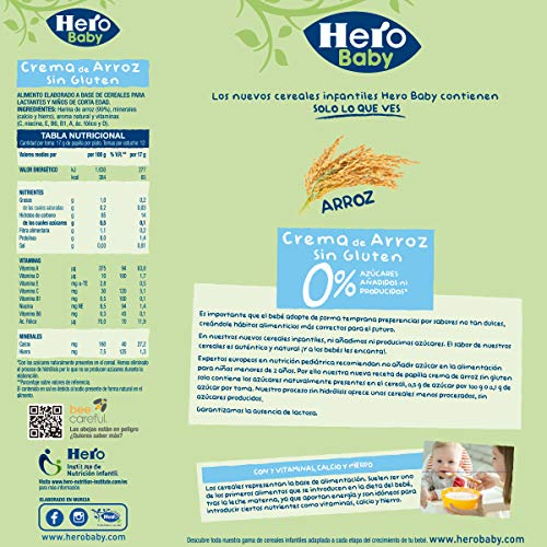 Hero Baby Papilla de Cereal de Crema De Arroz Sin Gluten para Bebés a partir de 4 meses Pack de 3 x 300 g