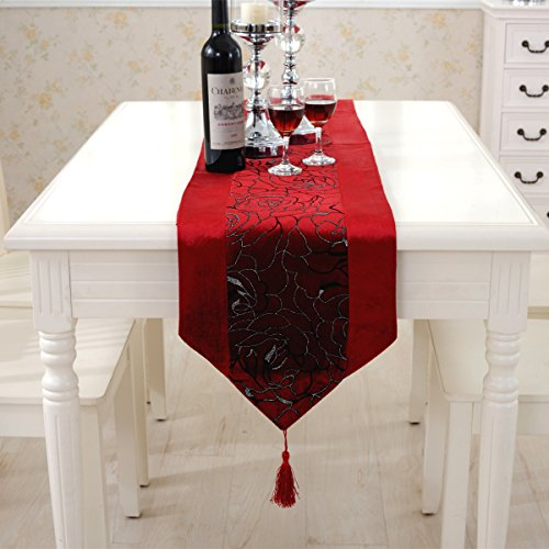 Western red flower embroidered blue velvet table runners tapestry 80 inch approx for party and wedding