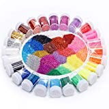 BTSD-home Arts and Crafts Glitter Shake Jars, Glitter Powder Sequins for Slime, Scrap-Booking, Body, Face, Party Invitations, Holiday Crafts - Assorted Colors (Set of 24)