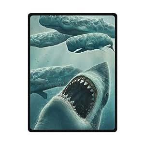 Best Custom Unique Underwater Predators Shark Fleece Blanket 58 x 80 (Large)