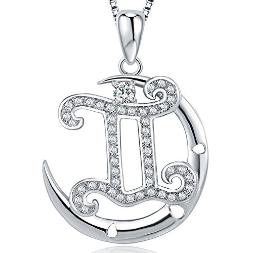 Horoscope Gemini Zodiac Sign (Moon Horoscope Signs of Zodiac Pendant Necklace with Cubic Zirconia, Fashion Constellation Jewelry, 18