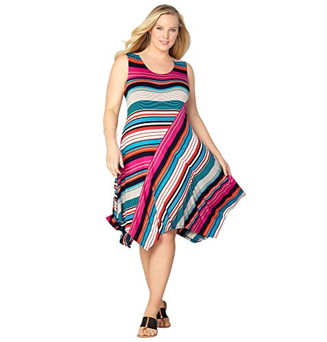 Avenue Women's Mixed Stripe Asymmetrical Dress, 18/20 Multi Color