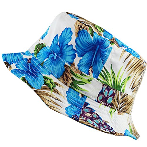 Floral Print Hawaiian Flower Beach Bucket Hat (S/M, Blue)