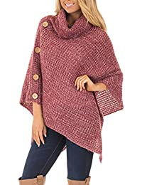 Womens Casual Knit Turtle Neck Poncho Lightweight Pullovers Sweater One Size Shawl Wrap