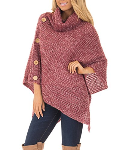 Jug&Po Women's Turtleneck Cable Knit Button Poncho Capes Pullovers Sweater (One Size, Berry)