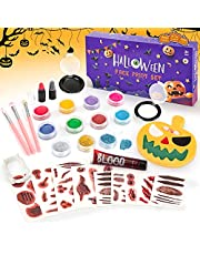 Dreamon Halloween Face Paint Makeup Kit with Face Paint Stencils Fake Blood Plastic Teeth Fake Scar and Brushes, Halloween Face Paint Kit for Kids Adults 29PCS