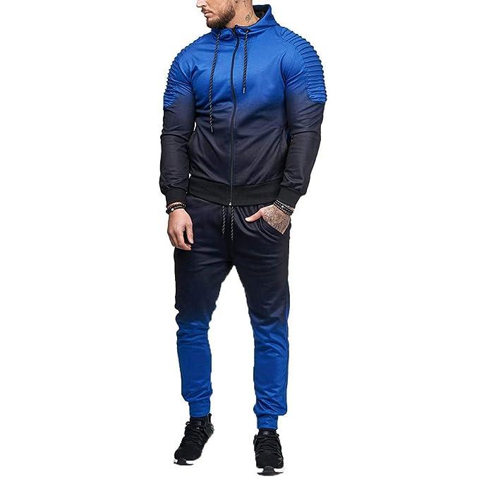 beautyjourney Sudadera con Capucha Slim para Hombre Abrigos de Manga Larga con gradiente de Rayas + Pantalones Largos Juegos Deportivos Chándal de otoño ...