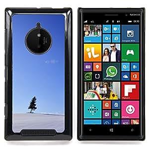 Snow Blue Sky Small Tree Black Caja protectora de pl??stico duro Dise?¡Àado King Case For Nokia Lumia 830