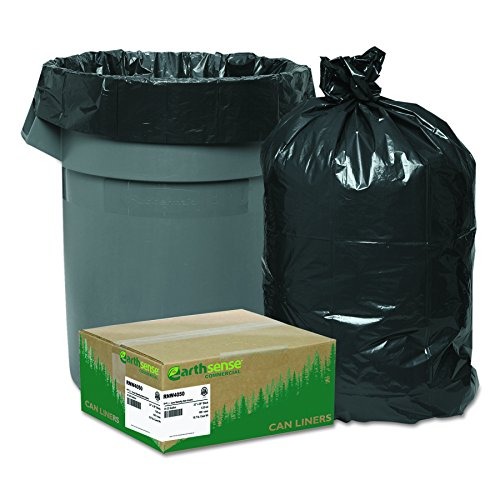- Earthsense Commercial RNW4050 Recycled Can Liners, 33gal, 1.25mil, 33 x 39, Black (Case of 100)