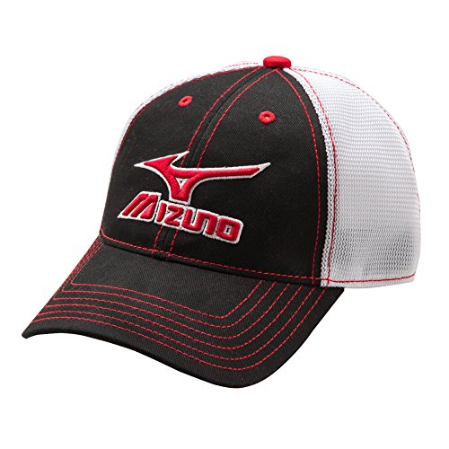 Mizuno 370211.9000.10.ONE Mesh Trucker Hat One-Size Black-White ()