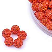 iCherry(TM) 10mm 100pcs/Lot Red Orange Clay Pave Disco Ball for Rhinestone Crystal Shamballa Beads Charms Jewelry Makings