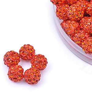 iCherry(TM) 10mm 100pcs/Lot Red Orange Clay Pave Disco Ball for Rhinestone Crystal Shamballa Beads Charms Jewelry Makings