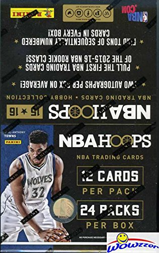 2015/16 Panini Hoops NBA Basketball HUGE Factory Sealed HOBBY Box with TWO AUTOGRAPHS & 288 Cards! Look for Rookies & Autographs of Karl-Anthony Towns, Devin Booker, Kristaps Porzingis & More! (Nba Hobby Box)