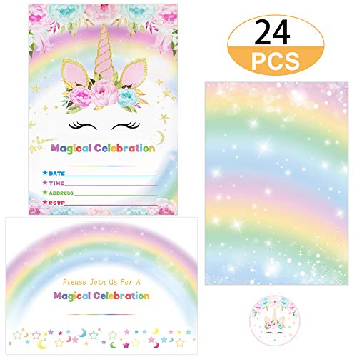 Supreona 24 PCS Glitter Unicorn Invitations With Envelopes And Stickers Rainbow Invitation Cards For Birthday, Baby Shower, Party Supplies