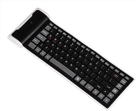 Mugast Teclado de Silicona Plegable, Mini Teclado Bluetooth inalámbrico, Teclado Plegable Flexible Impermeable Ultra Delgado, Teclado de Silicona ...