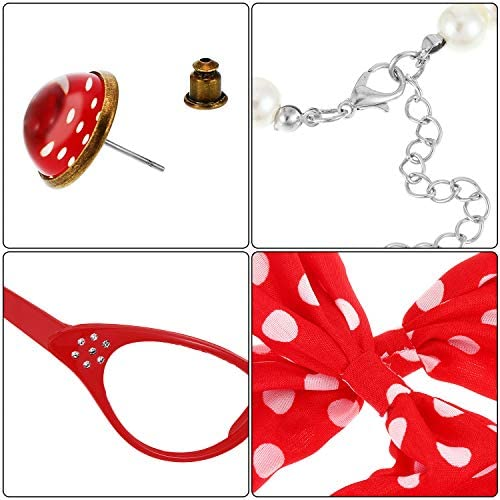 10 PIECES 50S COSTUME ACCESSORIES SET, CAT EYE GLASSES HEADBAND SCARF EARRINGS WAISTBAND