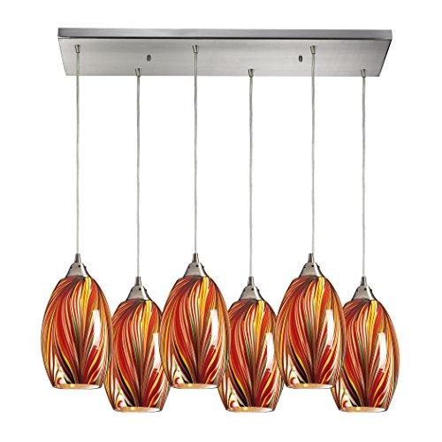 Alumbrada Collection Mulinello 6 Light Pendant In Satin Nickel And Multicolor Glass - Mulinello Collection Pendant