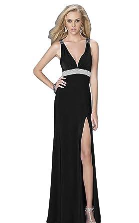 JoyVany Chiffon Beach Prom Dress V-Neck Spaghetti Strap Beaded Long Party Dress Black Size