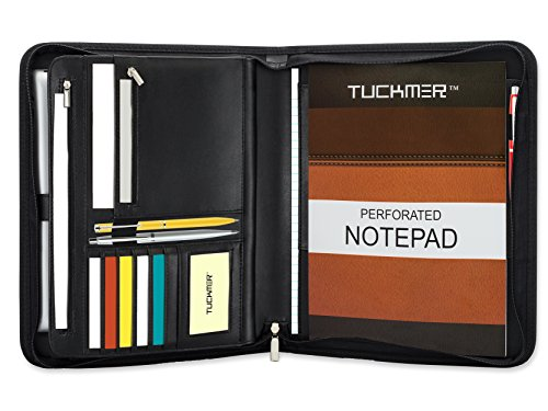 TUCKMER Zippered Leather Portfolio Business Padfolio with Zipper Organizer Expandable Tablet Holder and Spiral Calendar Notebook Pocket | Include (Expandable Spiral)