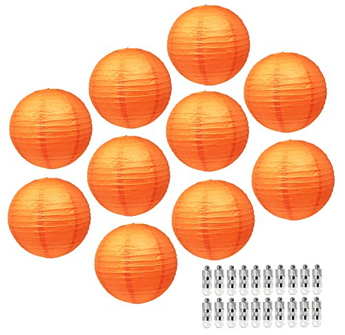 Mudra Crafts Paper Lantern with Led Light, Chinese Japanese Decorative Round Hanging Lamps (Orange 12 Inches 10 -