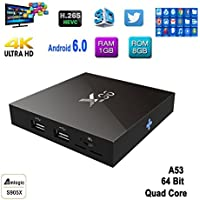 ESHOWEE Android 6.0 TV box,X96 Amlogic S905X Quad Core 1G RAM 8G ROM Wifi 1080p H.265 64 Bit