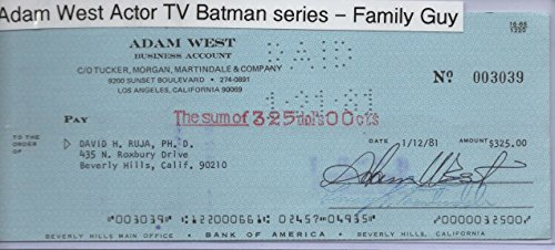 "ADAM WEST SIGNED BUSINESS CHECK #003039 – ""BATMAN"" – ""FAMILY GUY"""